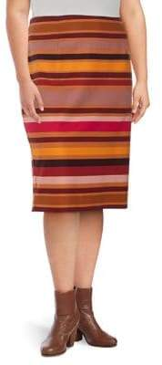 Lord & Taylor Plus Striped Pencil Skirt