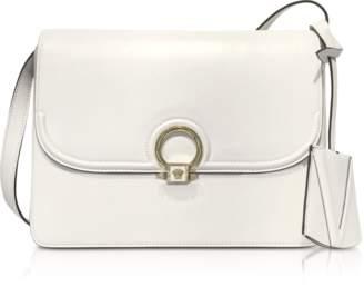 Versace White Leather DV One Flap Shoulder Bag