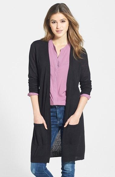 Halogen ® Long Linen Blend Cardigan (Regular & Petite)