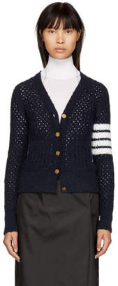 Thom Browne Navy Four Bar V-Neck Boucle Blend Cardigan