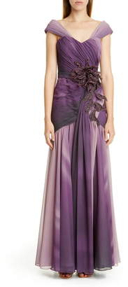 PatBO Ombre Embellished Chiffon Gown
