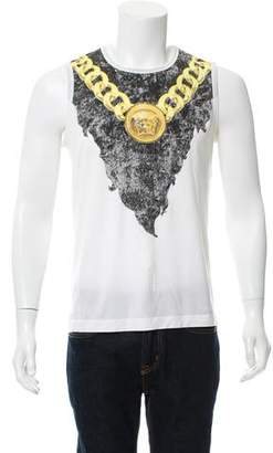 Versace Graphic Print Sleeveless T-Shirt