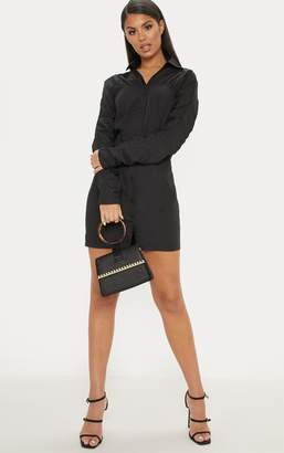 PrettyLittleThing Black Ruched Detail Fitted Shirt Dress