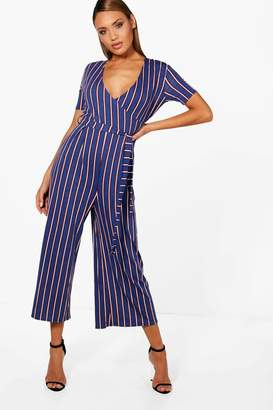 boohoo Strip Wrap Front Culotte Jumpsuit