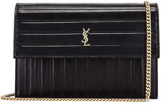 Saint Laurent Victoire Chain Wallet Bag in Black | FWRD