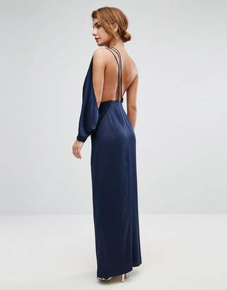 Asos DESIGN One Shoulder Drape Front Strap Back Maxi Dress