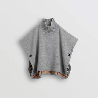 Burberry Childrens Reversible Check Merino Wool Jacquard Poncho