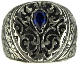 Express Falcon Jewelry Sterling silver men ring handmade, sapphire stone, steel pen craft, SHIPMENT