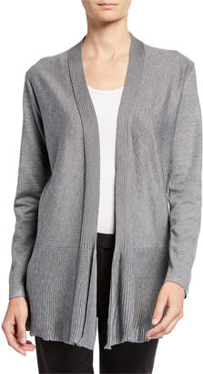 Neiman Marcus Open-Front Long-Sleeve Cardigan with Rib Peplum Hem