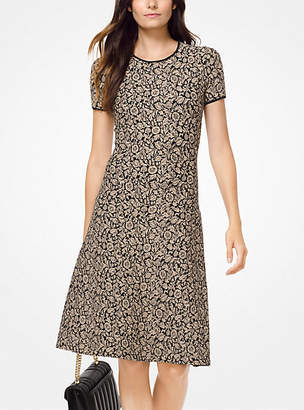 Michael Kors Botanical Metallic Jacquard Dress