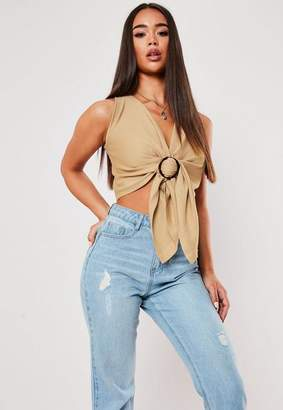 Missguided Camel Ring Detail Knit Plunge Crop Top