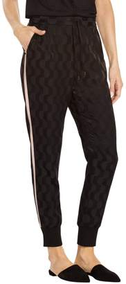 St. John Contrast Stripe Cotton Blend Charmeuse Pant