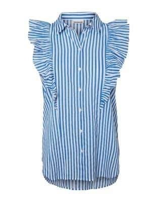 Noisy May Striped Frill Cotton Shirt
