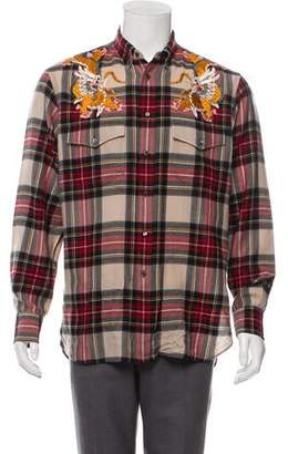 Gucci Dragon Embroidered Plaid Causal Shirt