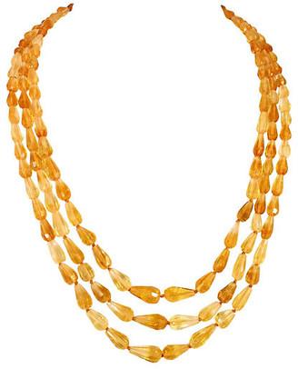 One Kings Lane Vintage 1920s Amber Teardrop Crystal Necklace - Neil Zevnik