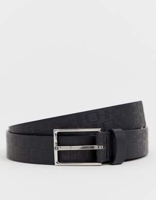 Asos Design DESIGN faux leather slim belt in black with design emboss