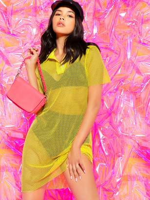 Shein Mesh Overlay Polo Shirt Dress Without Lingerie