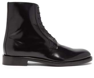 Vetements Lace Up Leather Ankle Boots - Mens - Black