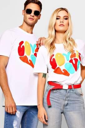 boohoo Pride Loose Fit Love Is Love Heart T-Shirt