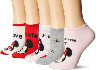 Disney Women's Minnie Mouse 5 Pack No Show Socks