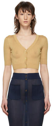 Maryam Nassir Zadeh Tan Cropped Cardigan