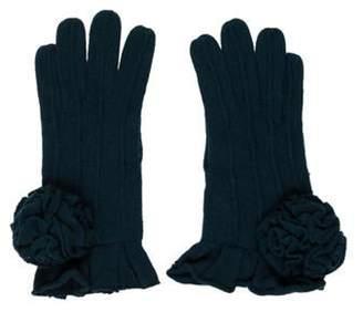 Alberta Ferretti Ruffle-Trimmed Merino Wool Gloves teal Ruffle-Trimmed Merino Wool Gloves