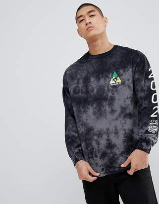 HUF long sleeve t-shirt with takeover back print in black