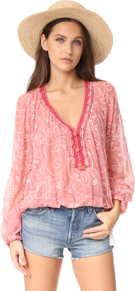 Love Sam Paisley Embroidered Peasant Blouse $295 thestylecure.com