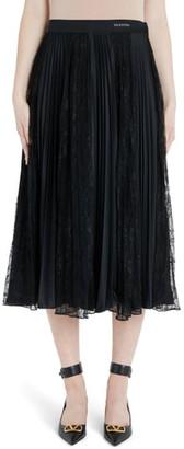 Valentino Lace Panel Jersey Plisse Midi Skirt