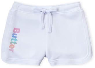 Butter Shoes Girls 7-16) White Fleece Varsity Shorts