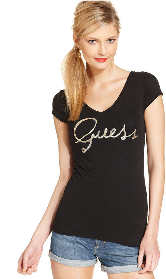 GUESS Top, Short-Sleeve V-Neck Sequined Logo Tee