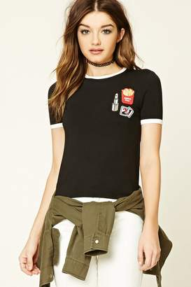 Forever 21 Patch Graphic Ringer Tee