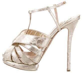 Nicholas Kirkwood Metallic Embossed Sandals