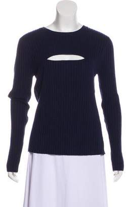 Frame Long Sleeve Cut-Out Accented Sweater