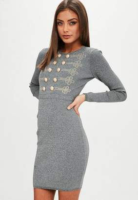 Missguided Gray Button Front Knit Dress