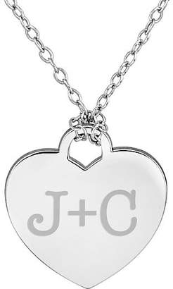 FINE JEWELRY Personalized Sterling Silver Couple's Initial Heart Pendant Necklace