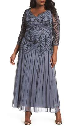 Pisarro Nights Embellished Double V-Neck Long Dress