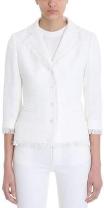 Tagliatore Adele White Cotton-blend Boucl? Jacket