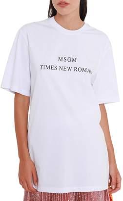 MSGM Short Sleeves T-shirt With Times New Roman Print