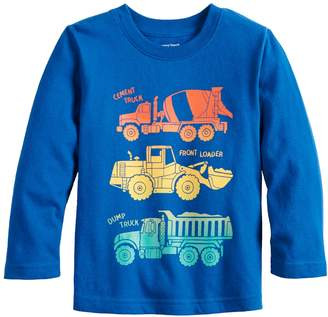 Toddler Boy Jumping Beans Front & Back Truck Long Sleeve Graphic Tee