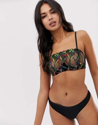 cffb4c8887a99 Savage X Fenty Savage x Fenty sheer mesh jungle embroidery bandeau bra in  black
