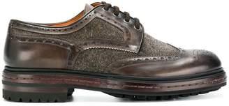 Santoni contrast panel brogue shoes