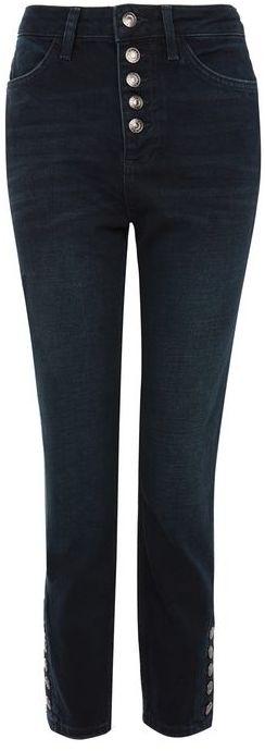 TopshopTopshop Moto indigo button front straight leg jeans