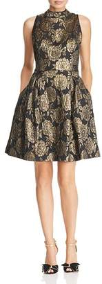 Nanette Lepore nanette Metallic Floral Damask Dress