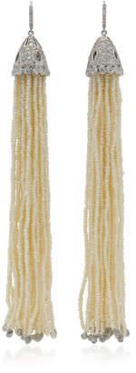 Nina Runsdorf 18K White Gold And Pearl Tassel Earrings