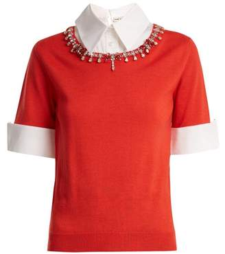 Mary Katrantzou - Ella Crystal Embellished Wool Sweater - Womens - Orange White