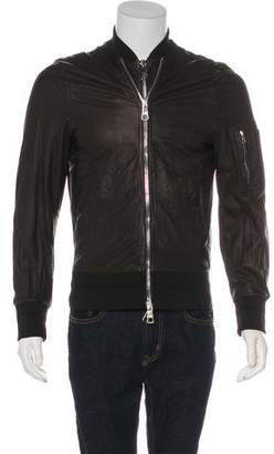 Neil Barrett Leather Utility Bomber Jacket