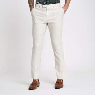 River Island Cream linen blend slim fit suit pants