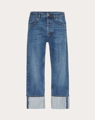 Valentino Baggy Jeans With Vltn Selvedge Man Blue Cotton 100% 28