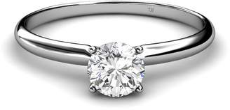 Solus TriJewels 0.37ct Natural White Round Diamond Solitaire Ring in 14K White Gold.size 8.0